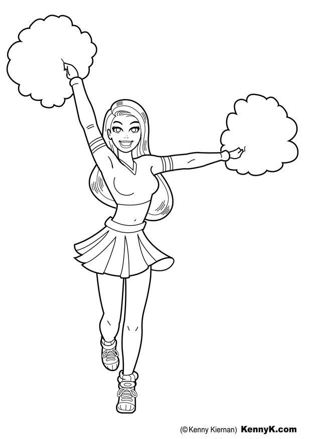 620x875 Coloring Page Cheerleader