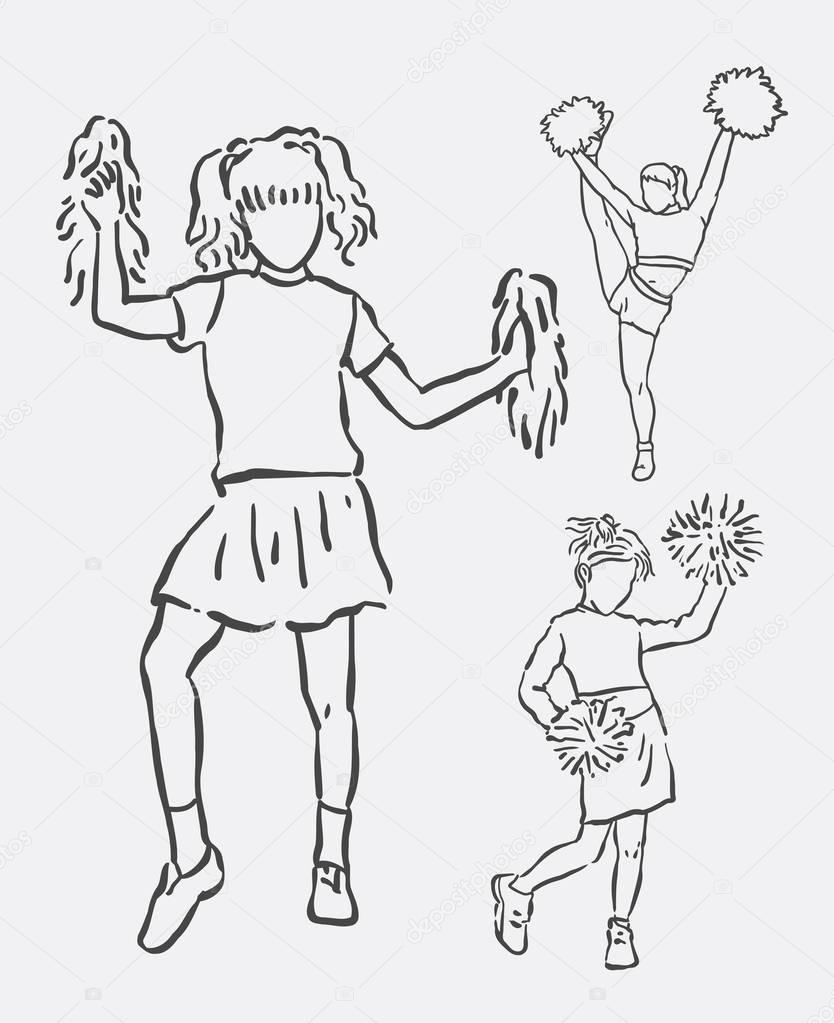 834x1023 Cheerleader Female Action Art Line Drawing Stock Vector