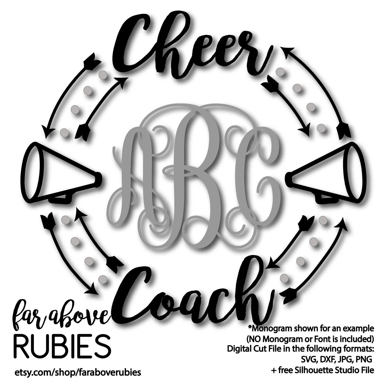 1500x1500 Cheer Coach Megaphone Monogram Wreath Arrows (Monogram Not