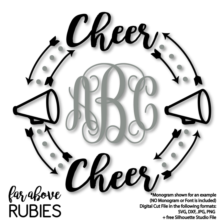 1500x1500 Cheerleader Cheer Megaphone Monogram Wreath Arrows Monogram