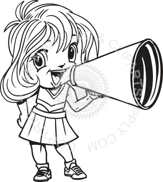 325x361 Girl With Megaphone In Black And White