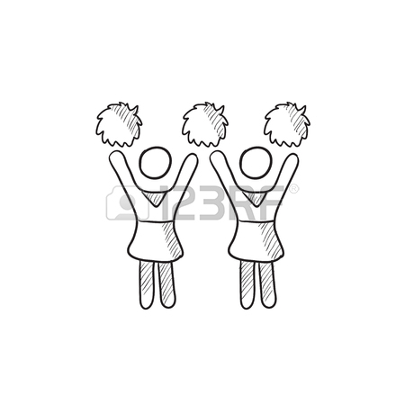 450x450 Cheerleaders Vector Sketch Icon Isolated On Background. Hand
