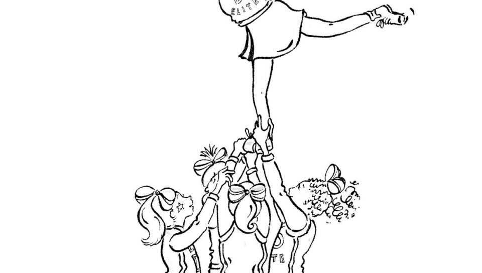 960x544 Vector Of Cartoon Cheerleader Girl Outlined Coloring Page Pages