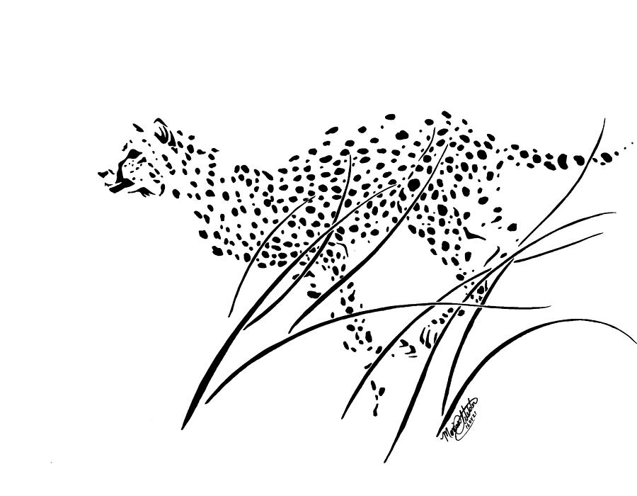 900x700 Cheetah Running Through Long Grass Drawing By Monica Webster