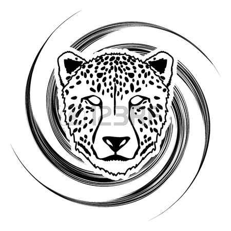 450x450 Cheetah Face Designed On Spin Stroke Background Graphic Royalty