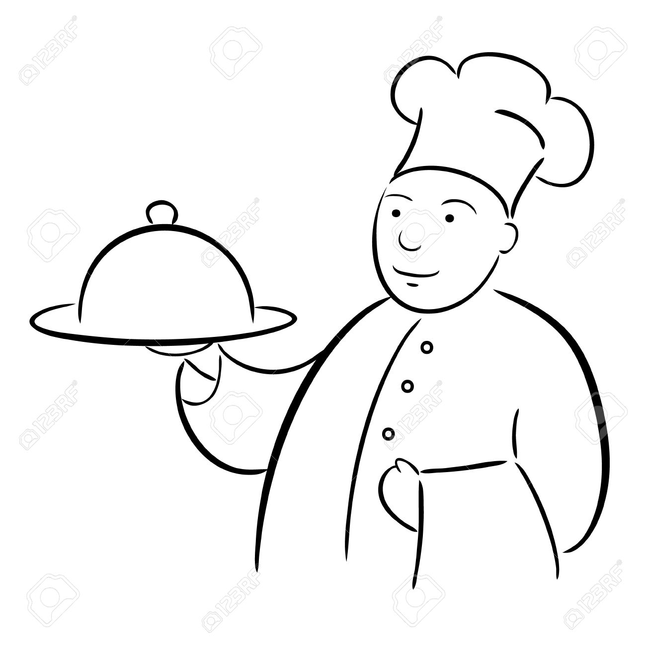1300x1300 Chef Cook With Tray Calligraphy Drawing Royalty Free Cliparts