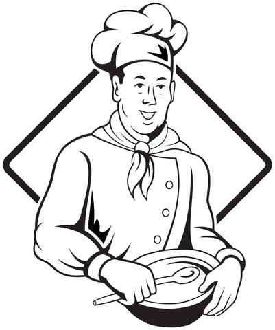 401x480 Chef Holding Spoon And Bowl Coloring Page Free Printable