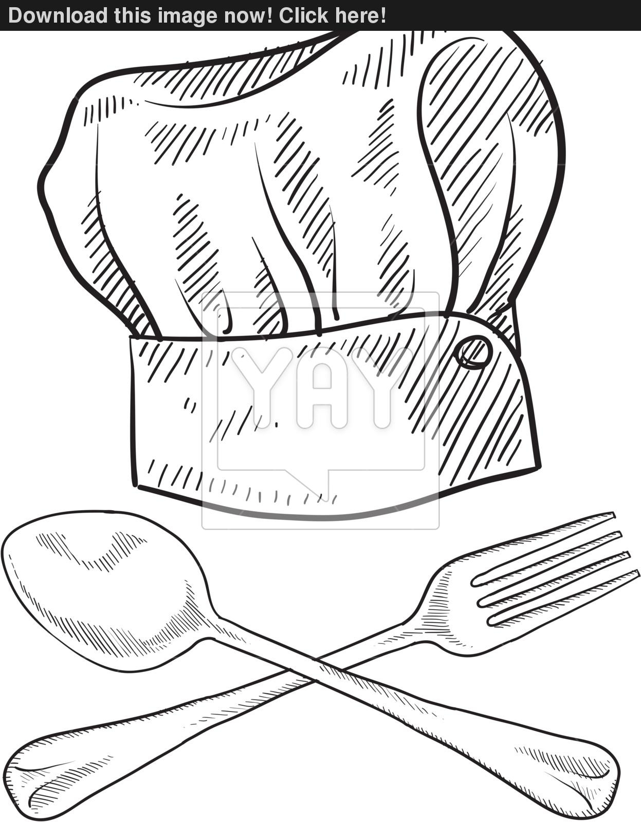 1247x1600 Drawing Of Chef Hat Chef Hat Sketch Vector Yayimages