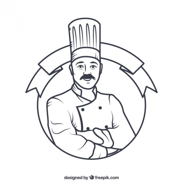 626x626 Hand Drawn Chef Badge Vector Free Download