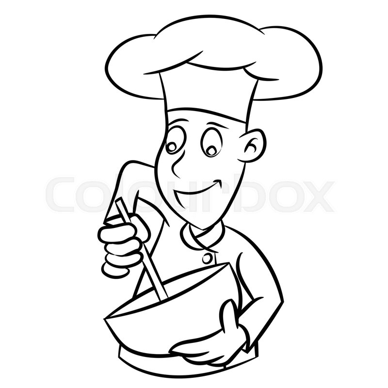 800x800 Hand Drawn Sketch Of Chef Isolated, Black And White Cartoon Vector