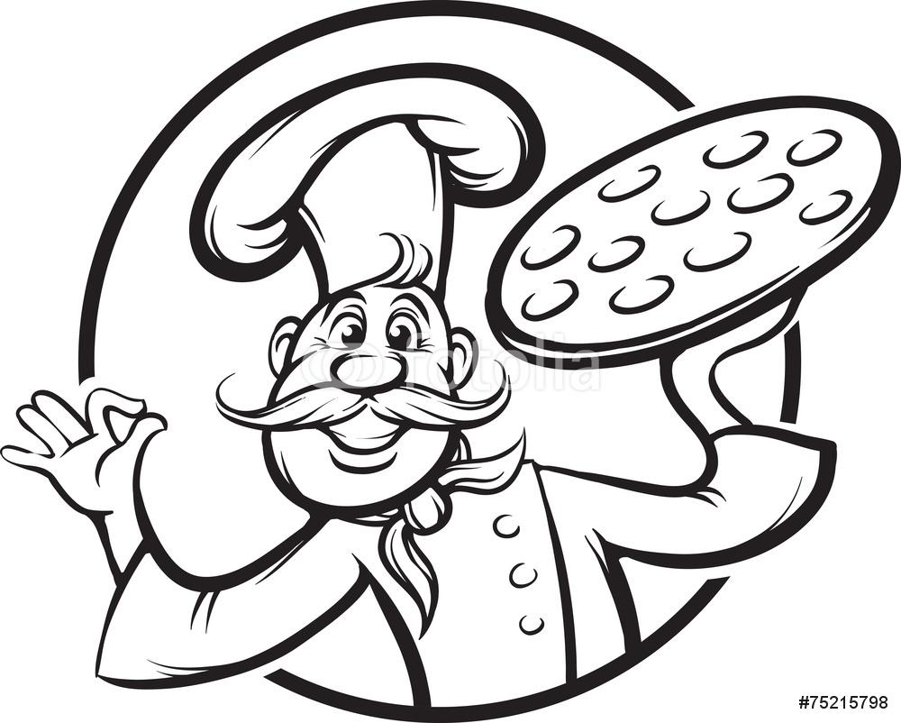 1000x802 Board Drawing Cartoon Pizza Chef Mascot Wall Sticker Wall Stickers