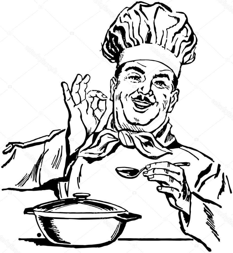 944x1024 Top Stock Illustration Italian Chef Drawing