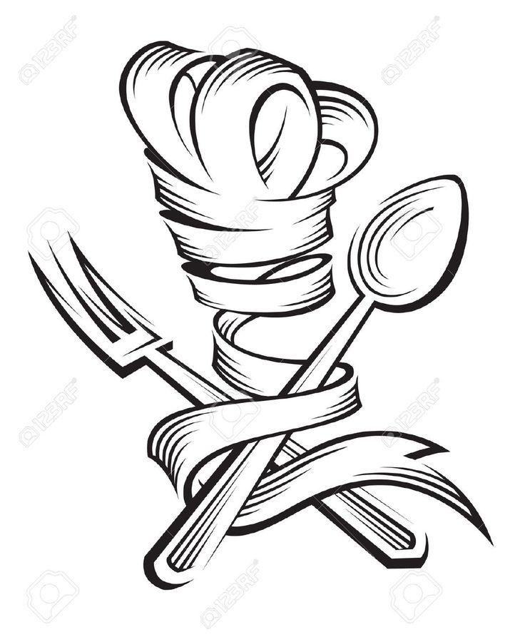 736x900 Chef Hat Ribbon Drawing
