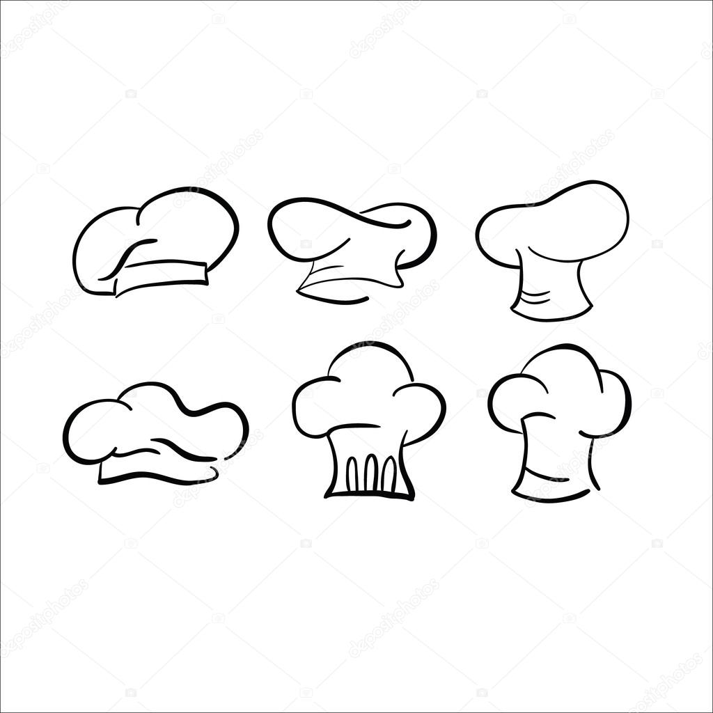 1024x1024 Chef Hat Sketch Vector Drawing Cap White Stock Vector