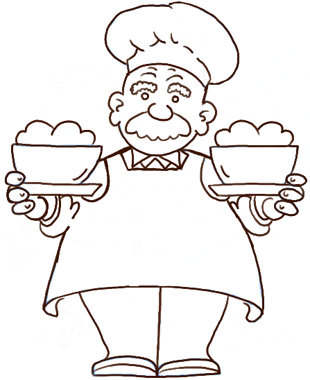 447x547 Chef Line Drawings