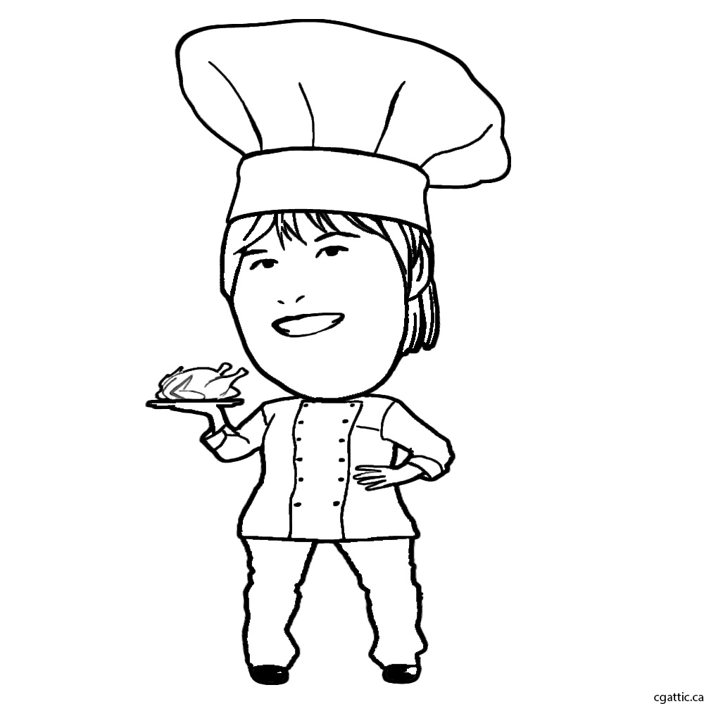 1000x1000 Cartoon Chef Drawing In 4 Steps With Photoshop