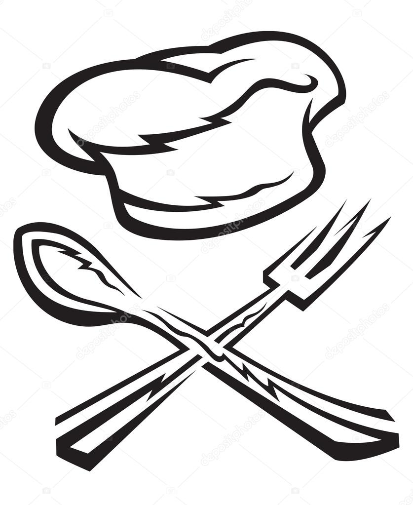 837x1023 Chef Hat With Spoon And Fork Stock Vector Alexkava