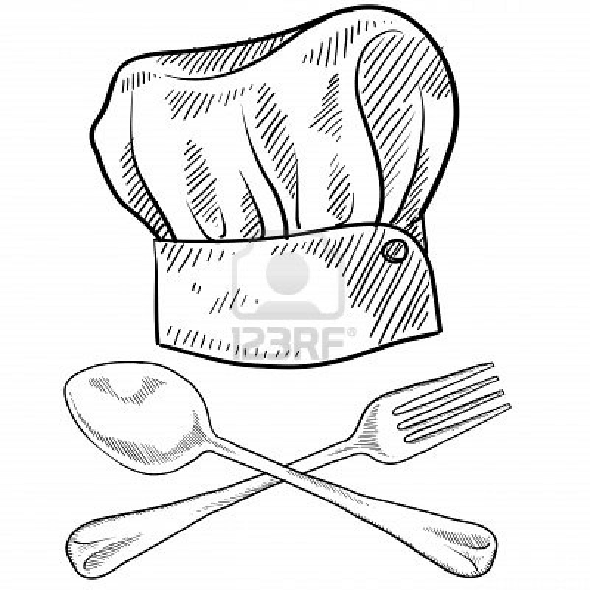 1200x1200 Doodle Style Chef Hat With Fork And Spoon Stock Photo Creativity