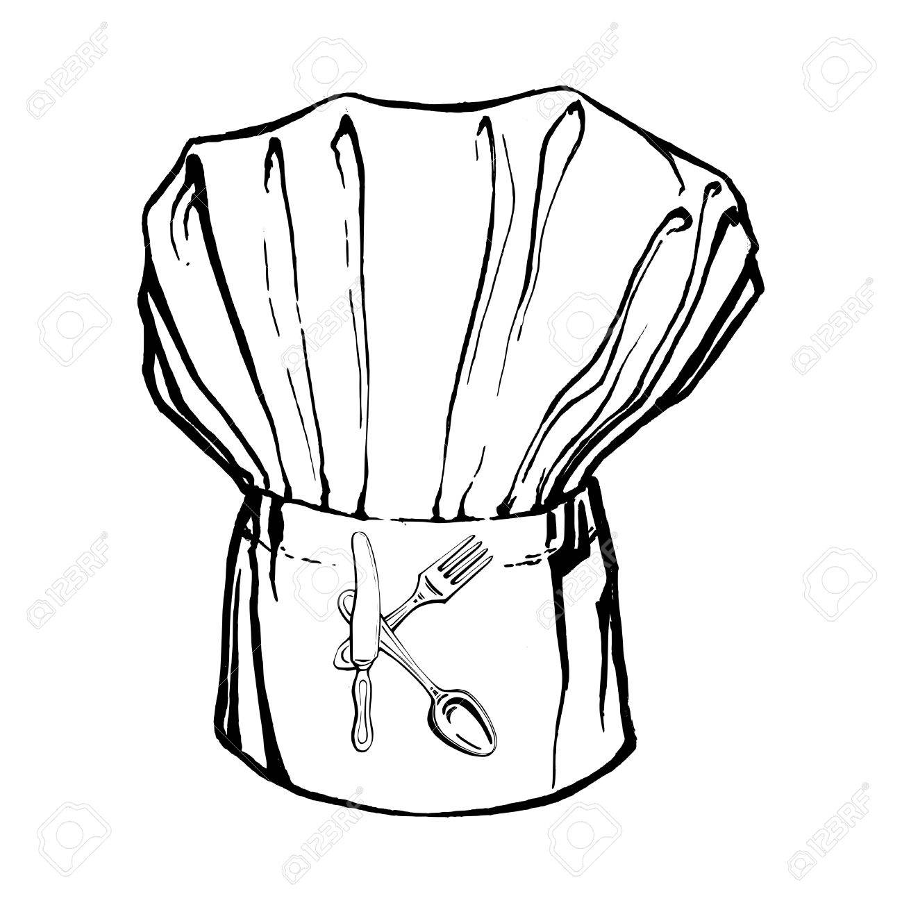 1299x1300 Hand Drawn, Vector, Sketch Illustration Of Chef's Hat