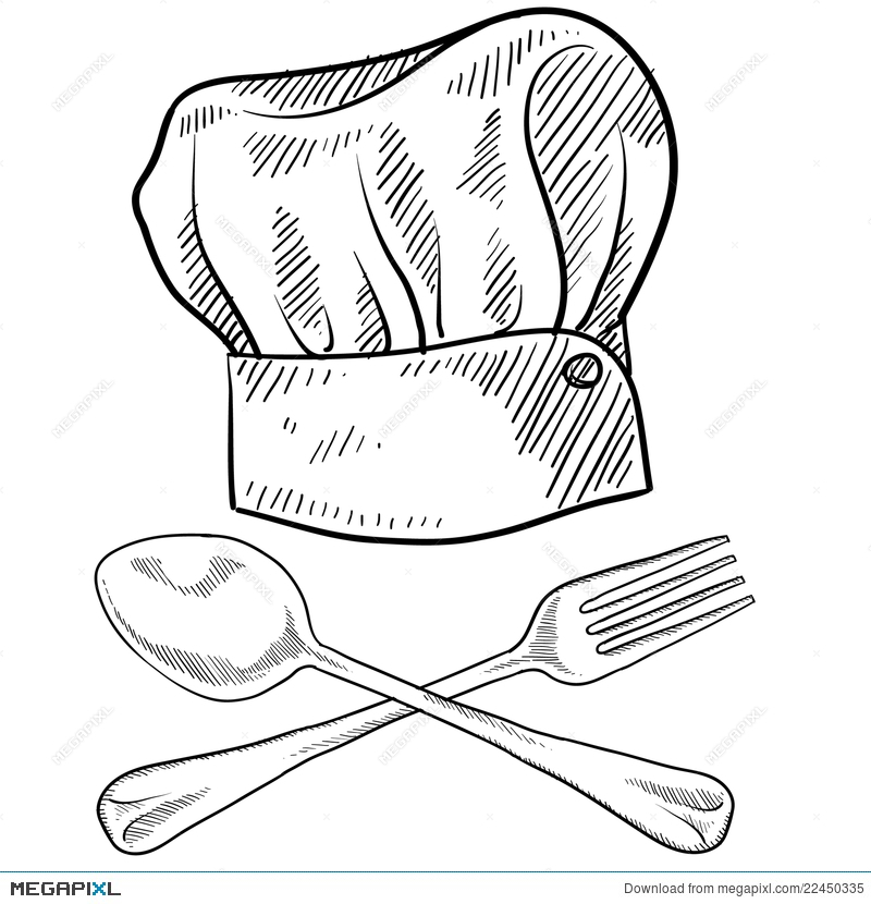 800x830 Chef Hat And Utensils Drawing Illustration 22450335