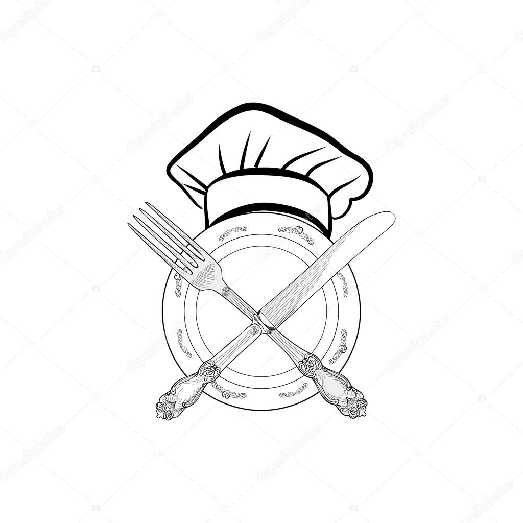 1024x1024 Chef Cook Hat With Fork And Knife Stock Vector Yokodesign