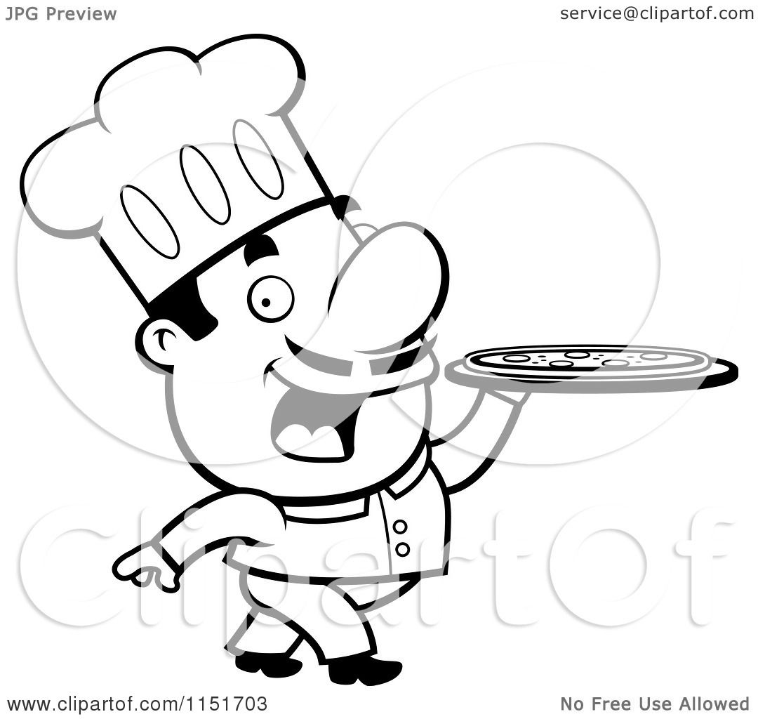 1080x1024 Cartoon Clipart Of Blacknd White Pizzeria Chef Walking