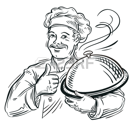 450x424 Hand Drawn Sketch Of A Chef With A Tray In His Hand. Vector