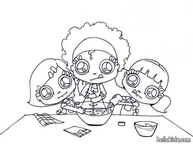 620x462 Little Chefs Making Whipped Cream Coloring Pages