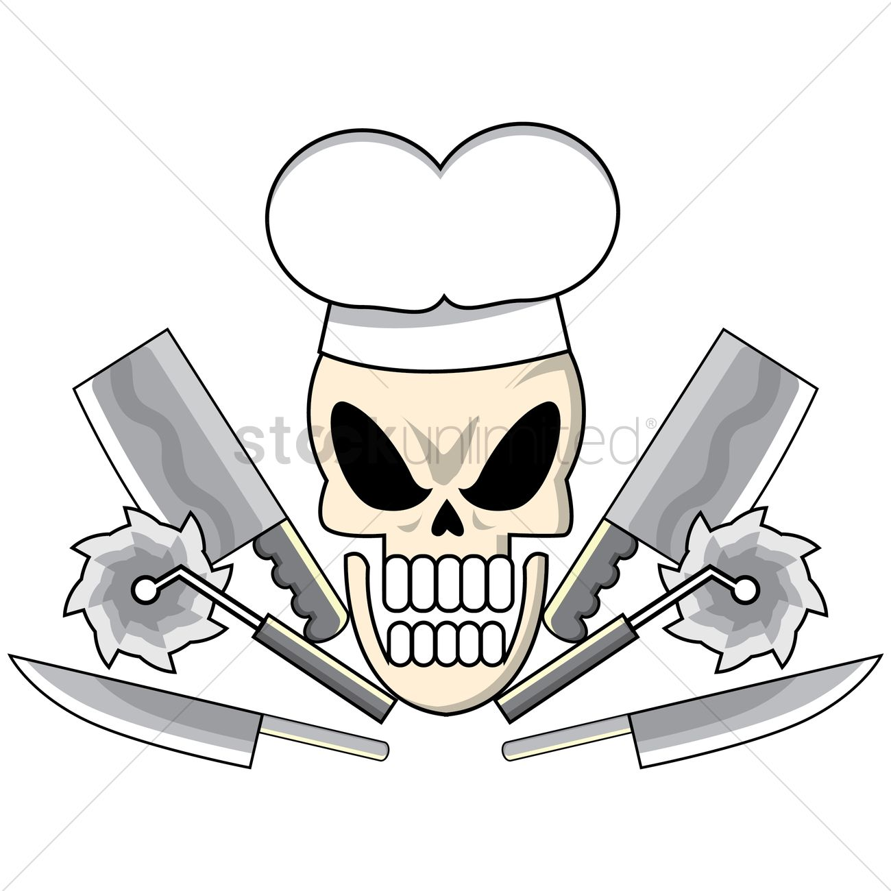 1300x1300 Skull With Chef Top Hat And Knives Vector Image