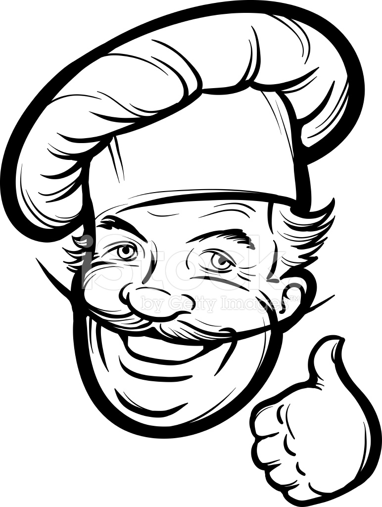 772x1024 Whiteboard Drawing Smiling Chef Cook Stock Vector