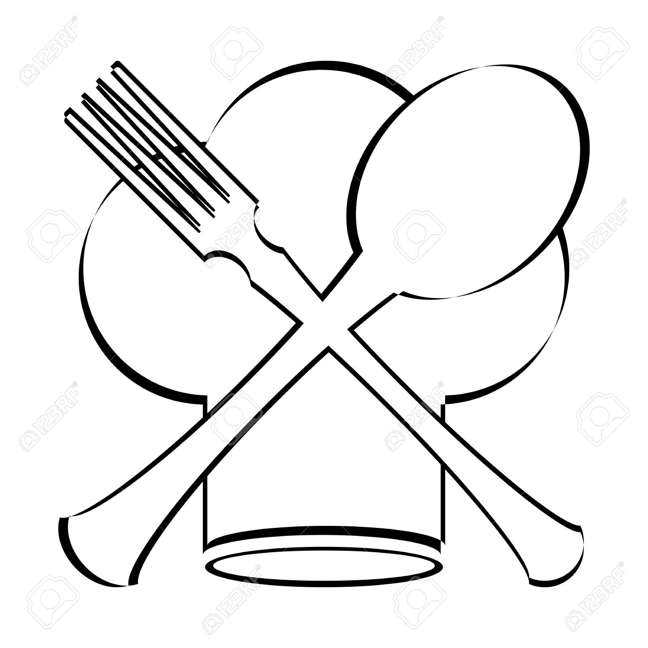 1300x1300 Chef Hat With Spoon, Fork And Knife Clipart Station