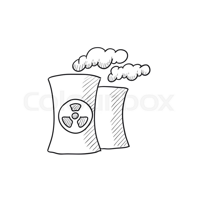 800x800 Nuclear Power Plant Vector Sketch Icon Isolated On Background