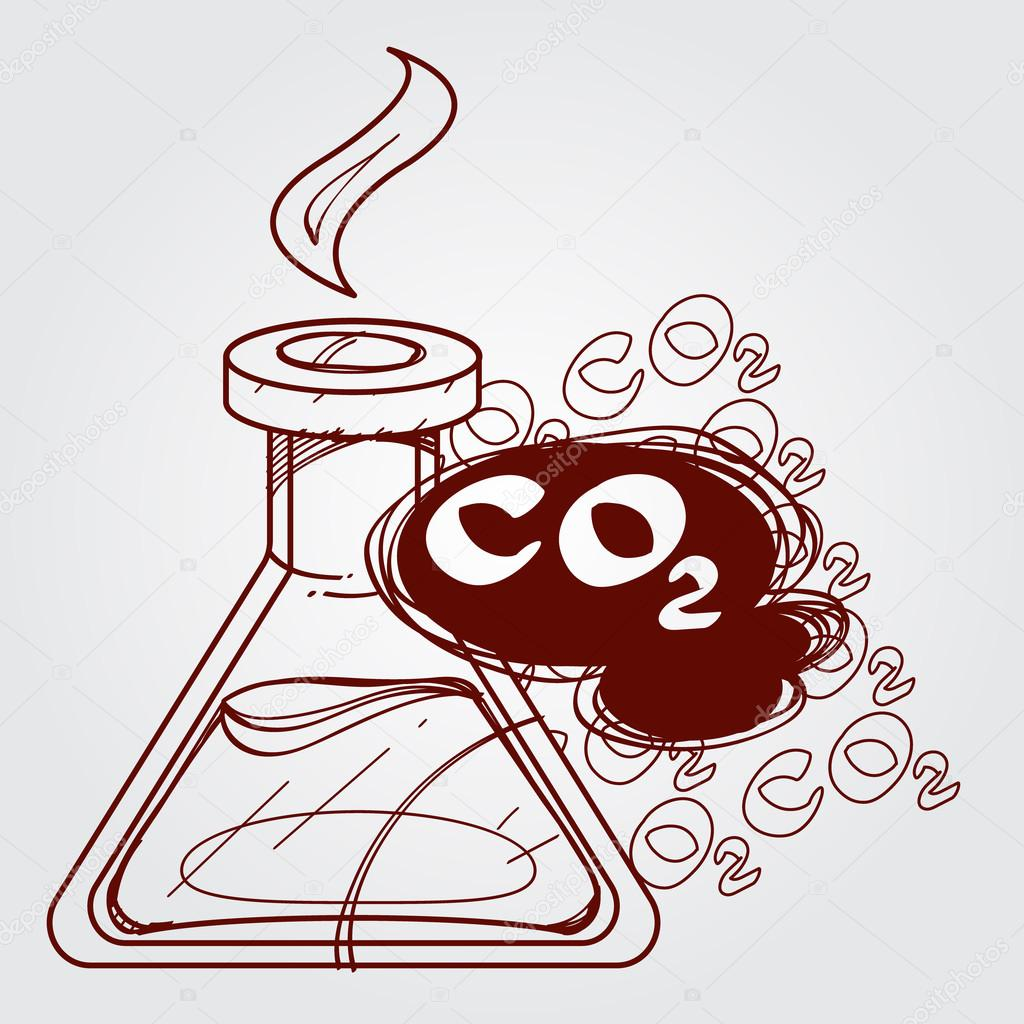 1024x1024 Carbon Dioxide In Vitro, Co2, Chemical Analysis. Outline Drawing