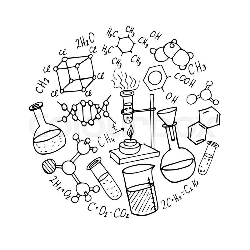 800x800 Chemistry Hand Drawn Doodles Background. Science Vector
