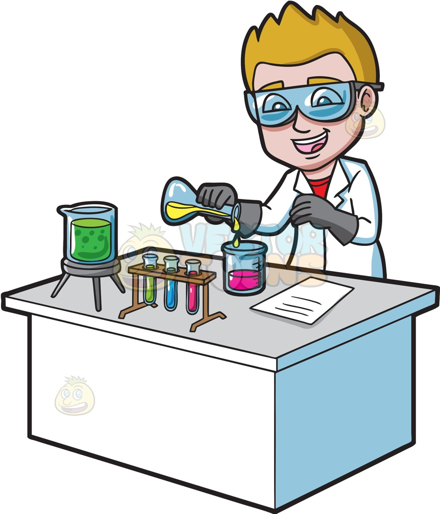 875x1024 A Happy Scientist Mixing Chemicals Cartoon Clipart