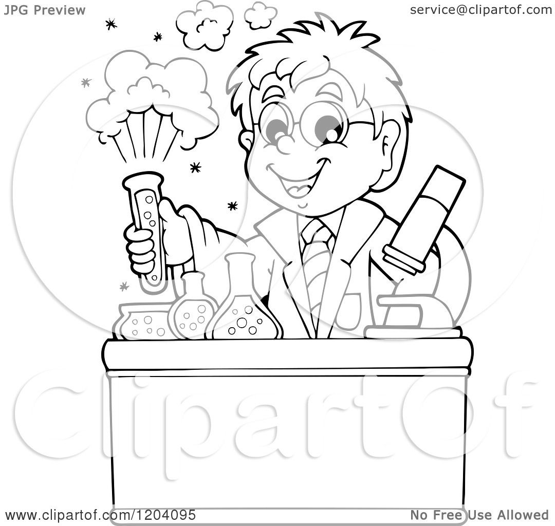 1080x1024 Cartoon Of A Black And White Scientist Boy Experimenting