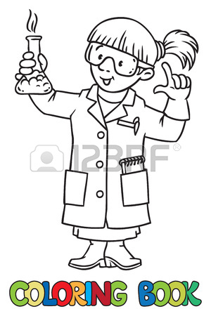 300x450 Coloring Picture Or Coloring Book Of Funny Chemist Or Scientist