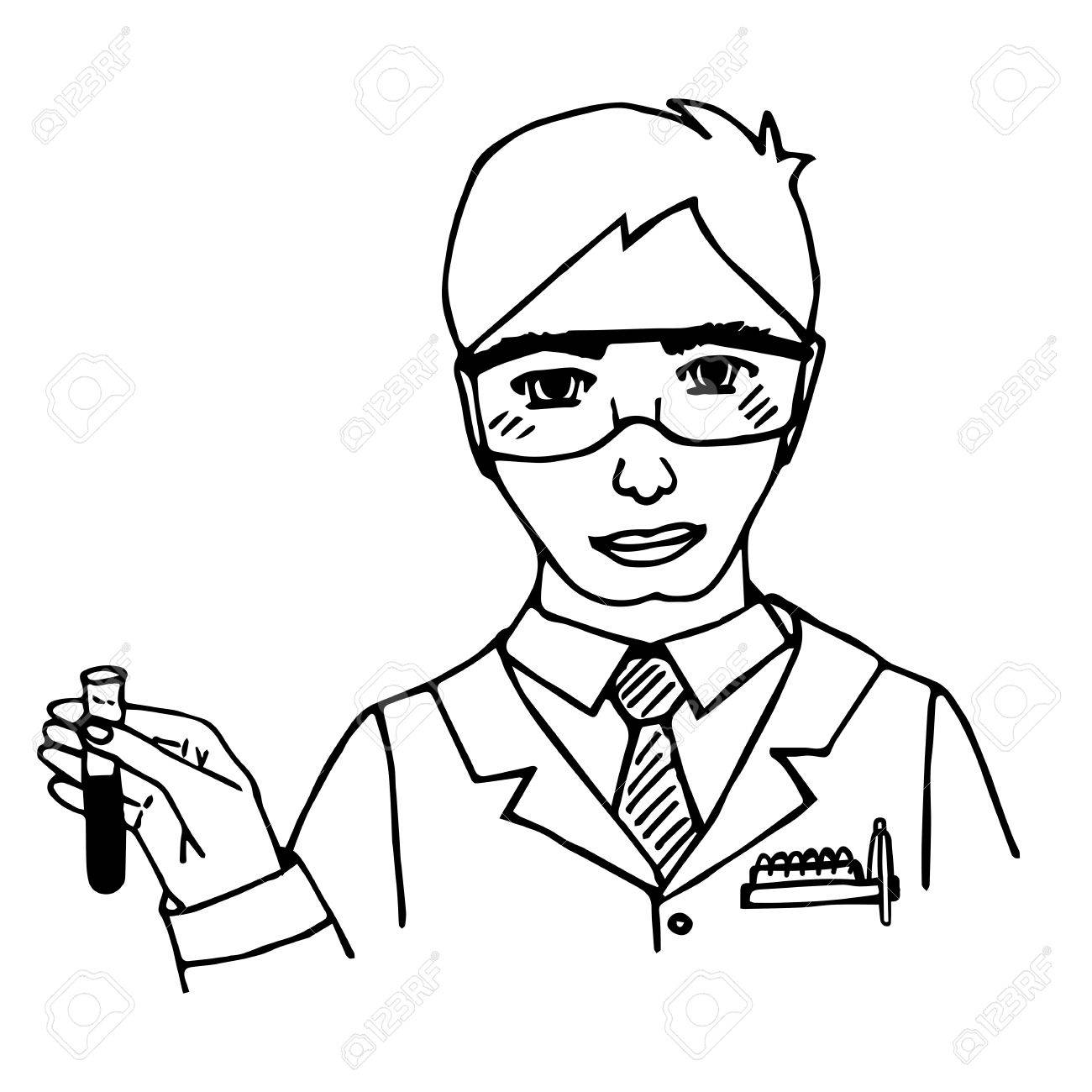 1300x1300 Hand Drawn Scientist. Chemist. Doodle. Isolated. Vector