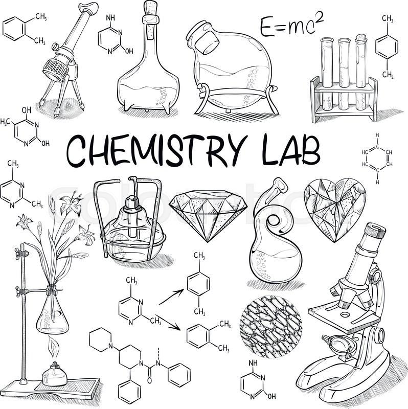 798x800 Hand Drawn Science Vintage Chemistry Lab Sketch Set Vector