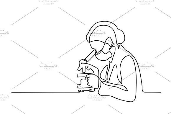 580x387 Scientist Woman Looking Through Microscope Doctor Drawing