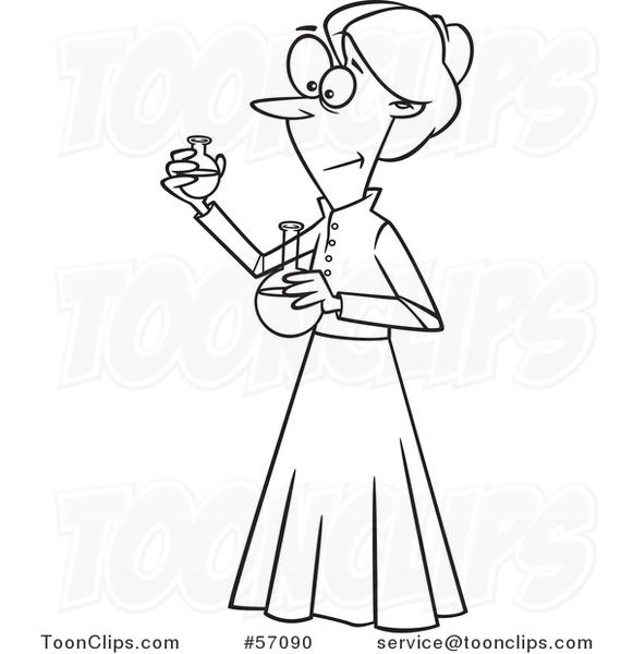 581x600 Cartoon Outline Female Chemist, Marie Curie, Holding Science