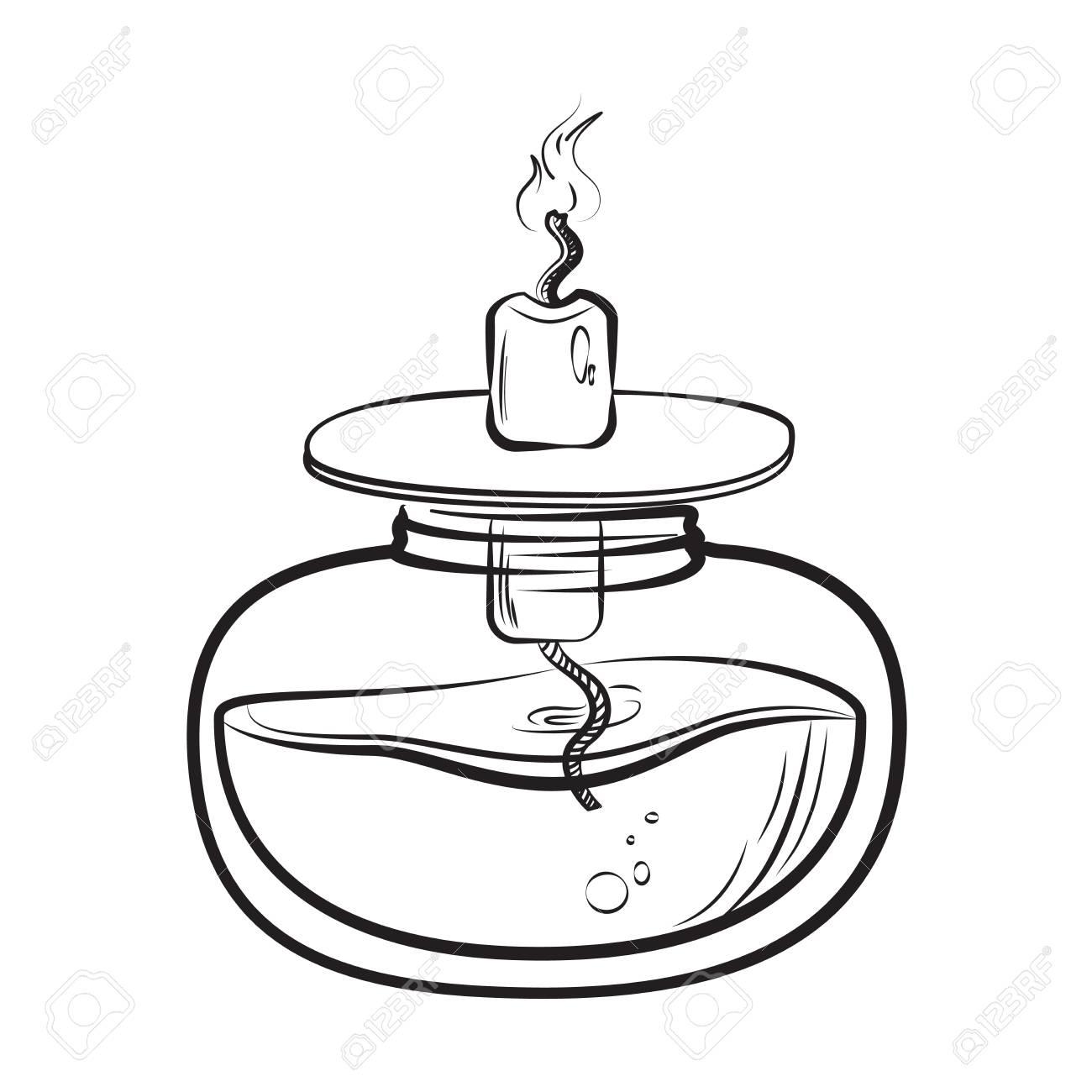 1300x1300 Sketch Of Spirit Lamp Chemical Burner Royalty Free Cliparts