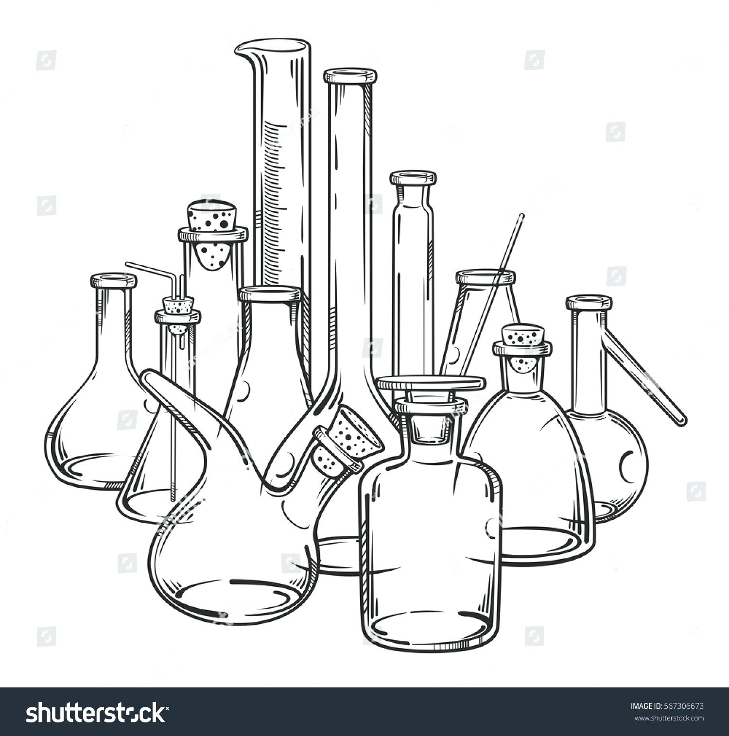 Chemical Laboratory Equipment Antique Chemistry Scientific ... |Lab Chemist Drawings