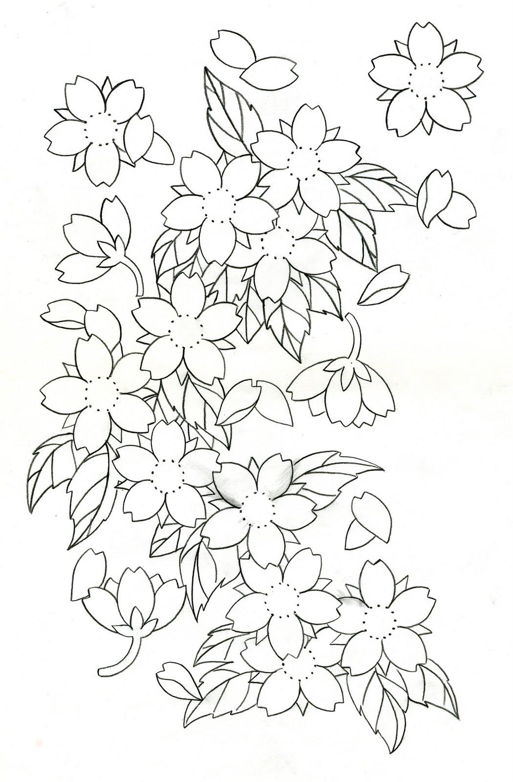 1050x1600 17 Cherry Blossom Outline Design Images