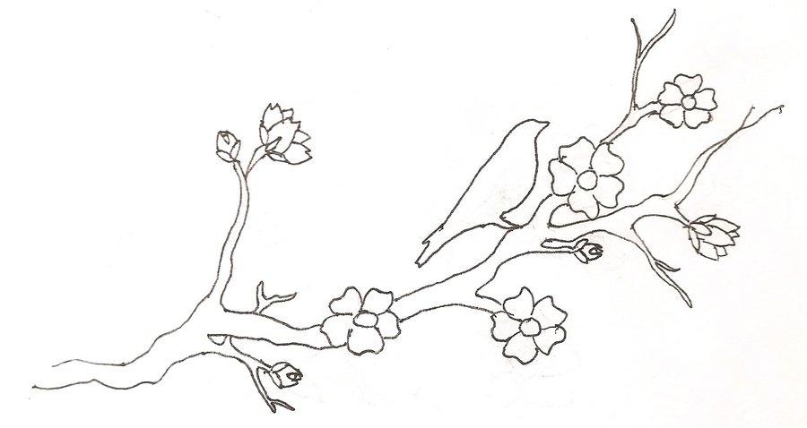 900x478 Large Wall Tree Nursery Decal Japanese Magnolia Cherry Blossom