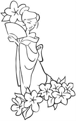 253x399 Cherry Blossom Beauty Image Outlines Embroidery