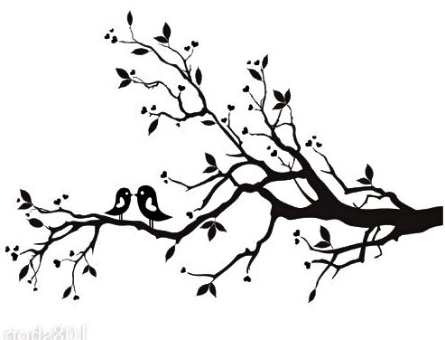 493x376 Blossom Tree Branch Drawing Cherry Blossom Branch Bird Vinyl Wall