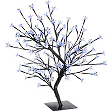 222x222 Pre Lit Illuminated Cherry Blossom Tree 96 Led 2ft White Blue Red
