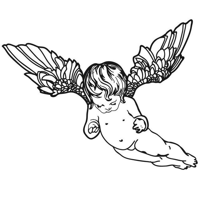 640x640 Flying Cherub Wings Angel Art Wall Sticker Removable Vinyl Home