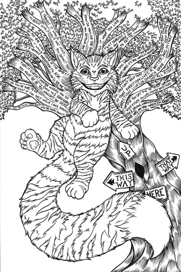 730x1095 Cheshire Cat Original Linework By Artofjoshlyman